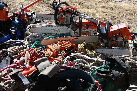 Stihl chainsaws, ropes, pulleys, blocks and tree climbing gear.