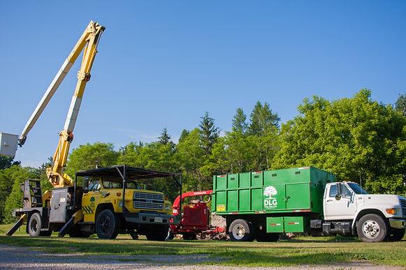 Dlg tree service bucket truck, chipper truck and brush chipper