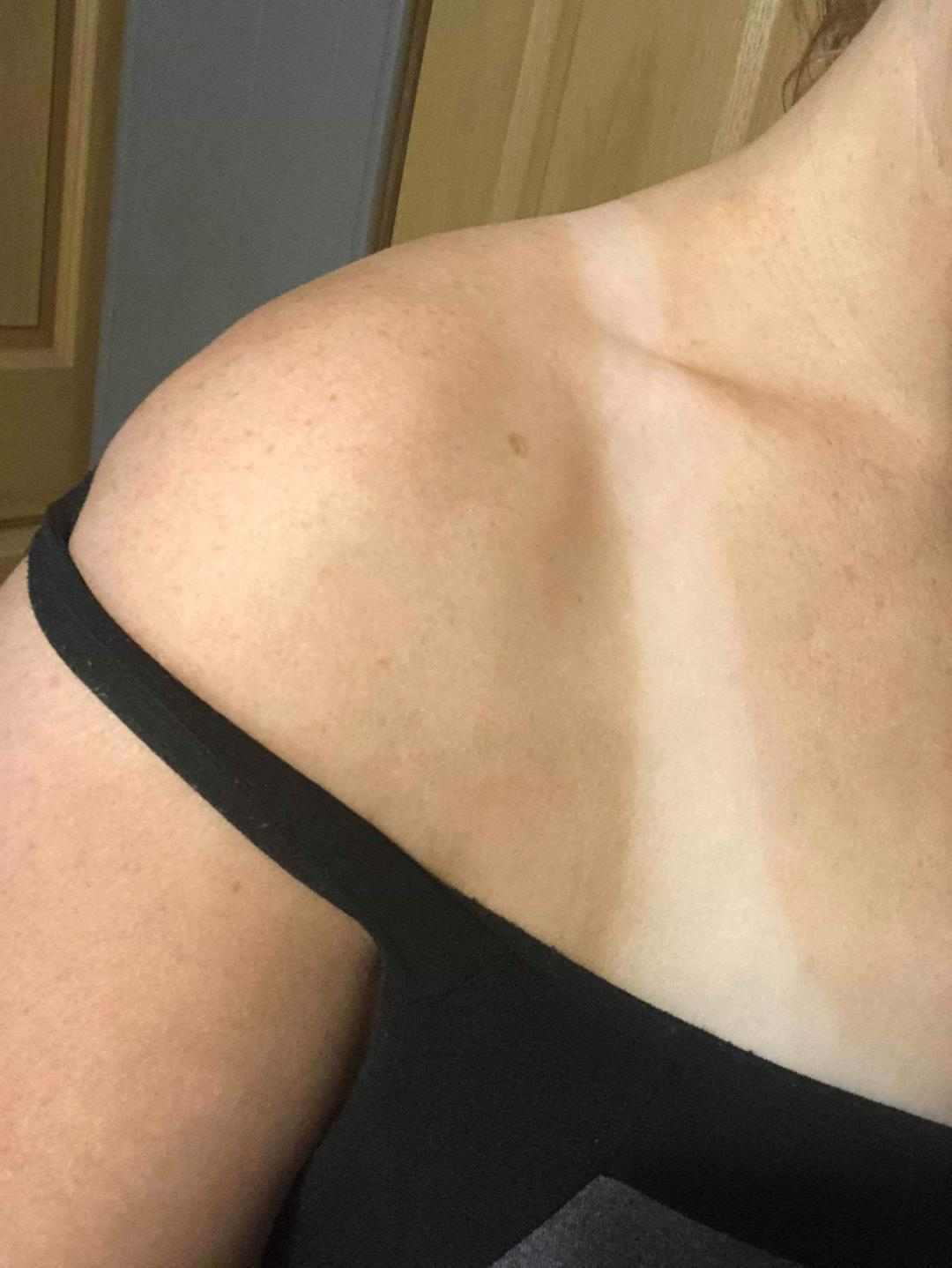 Natural color from a spray tan on fair skinned client