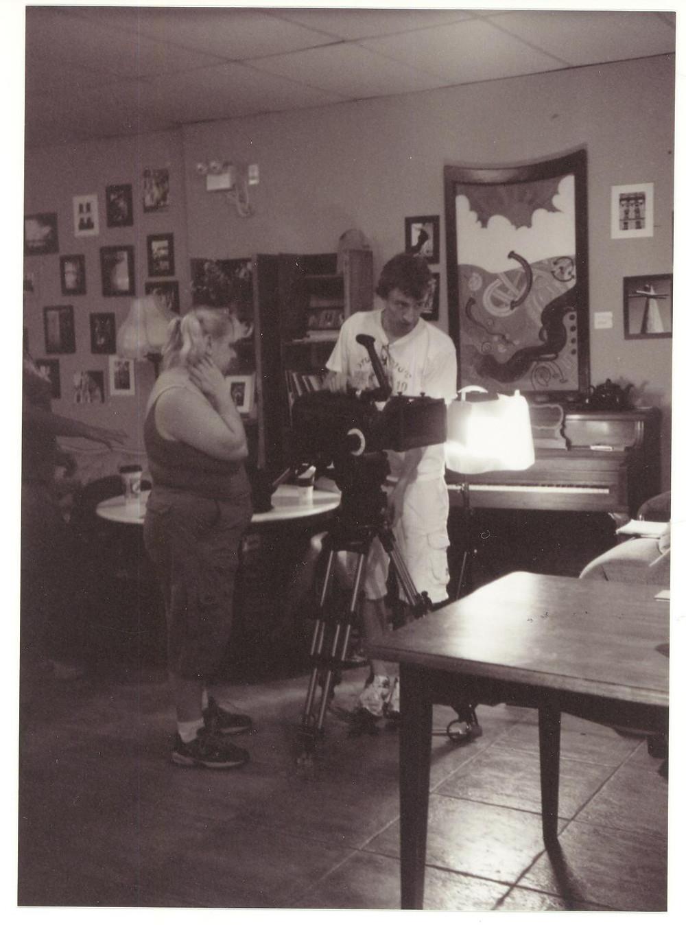 "With Lorraine Portman on the set of ""Haberdash"""