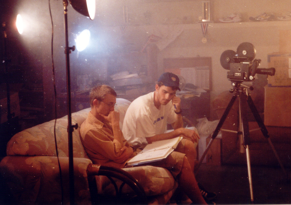Writer/director Patrick Barry and producer David Villotti on set with the trusty Frezzolini 16mm camera..