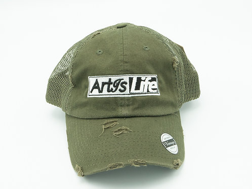 Army Green Mesh Vintage Dad Cap