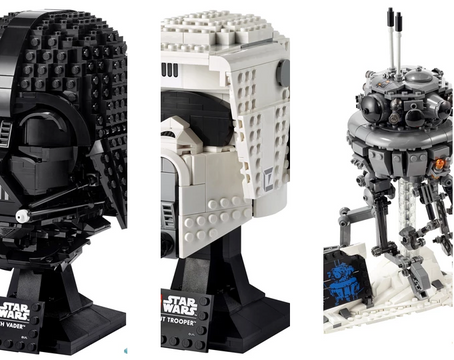 LEGO Star Wars Darth Vader & Scout Trooper Helmet, and Probe Droid Details