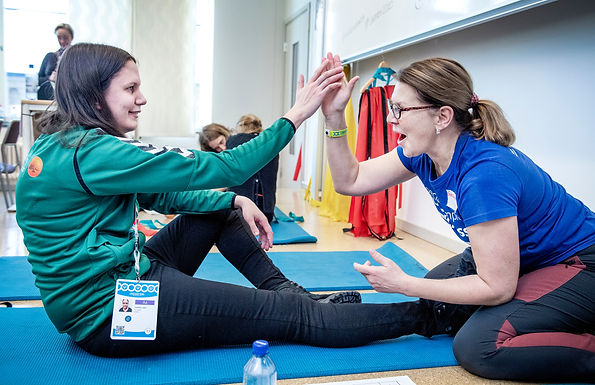 A Special Olympics athlete enjoys a FUNfitness screening at the Special Olympics Sweden Invitational Games on 3 February 2020. FUNfitness is one of eight disciplines within Special Olympics Healthy Athletes programme which provides free health screenings and education to Special Olympics athletes in a welcoming, fun environment.