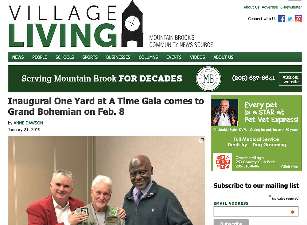 Village Living newspaper cover article about the LotUSA One Yard At A Time gala