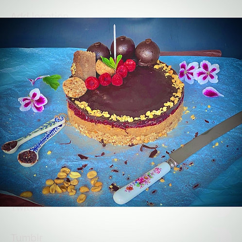 'Snickers' Cake with homemade Raspberry Chia seed jam