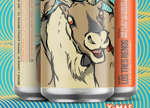 Tripping Animals Los Tres Renos (Fruited Sour Ale - 4 Pack x 16 oz.)