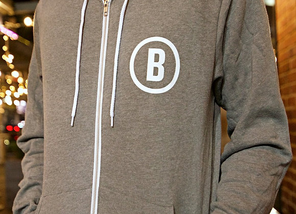 Circle Logo Full Zip Hoodie (Deep Heather)