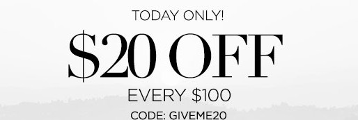Bebe! Today Only - $20 off every $100!
