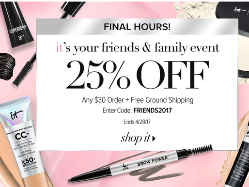 25% off IT COSMETICS - Final 5 Hours!!