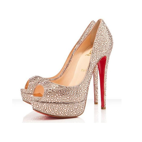 Christian Louboutin Crystal Lady Peep Strass 150 Pumps Pink Platforms