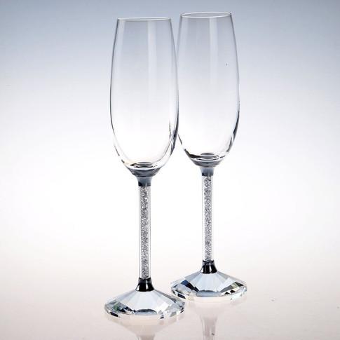 Crystal Filled Stem Champagne Glasses.jp