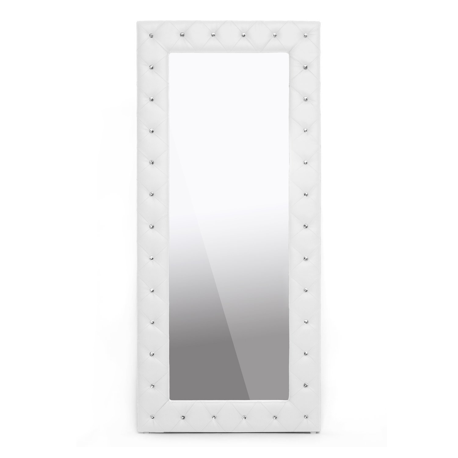 Crystal Tufted Leather Mirror