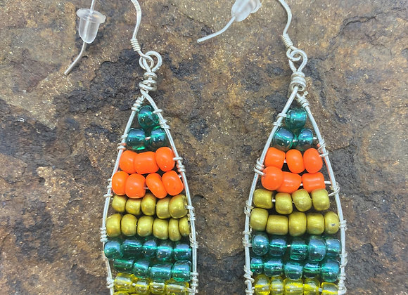 Wire Wrapped Seed Bead Sterling Silver Earrings