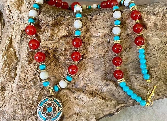 Colorful Necklace with Nepalese Focal Bead