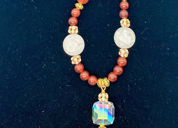 Red and White Necklace with Crystal Cube