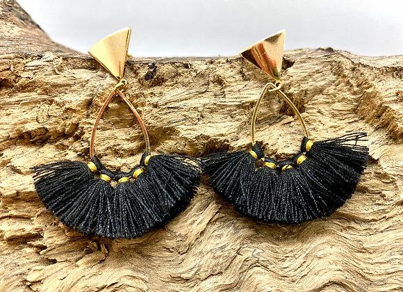 Flirty Black Fan Earrings