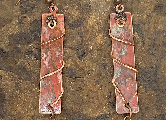 Rustic Copper Wire Wrapped Earrings