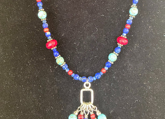 Lapis, ruby, turquoise and coral necklace