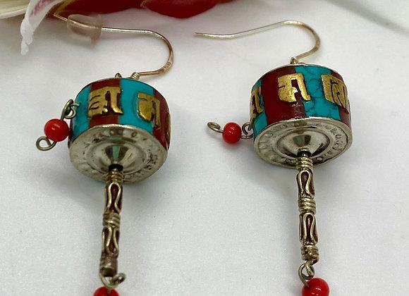 Tibetan Prayer Wheel Earrings