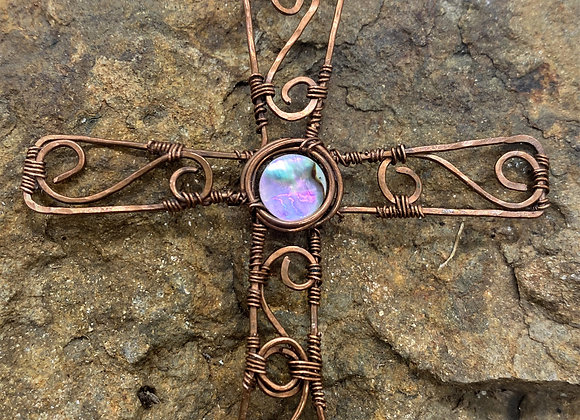 Copper Cross with Abalone
