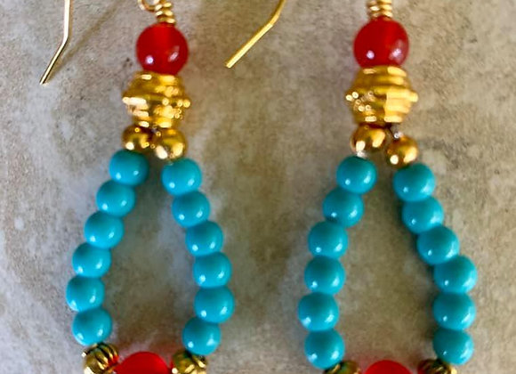 Ruby Gemstones and Turquoise Colored Glass Earrings
