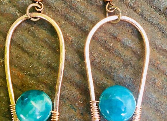 Copper Wrapped Apatite Gemstone Earrings