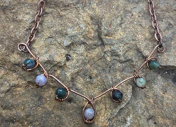 Dainty Wire Wrapped Jasper Pendant