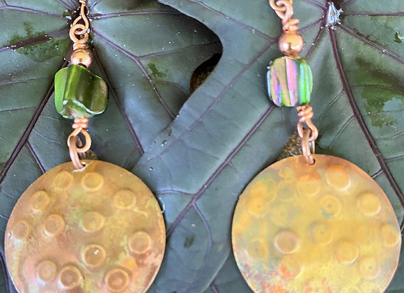 Flame Torched Copper Disc Earrings