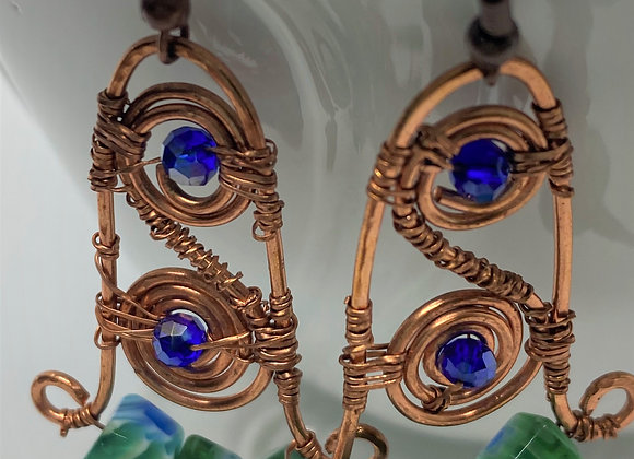 Copper Wrapped Spiral Earrings