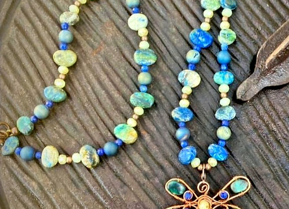 Copper Wrapped Dragonfly with Jasper and Jade