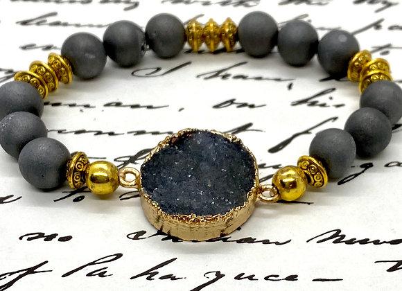 Sophisticated Gray Druzy  Bracelet