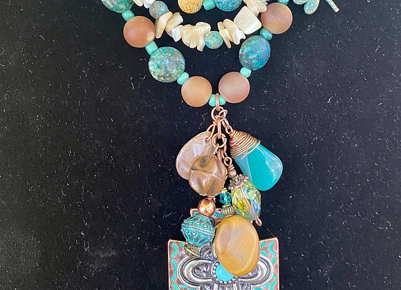 Chrysoprase and Copper Cross Necklace