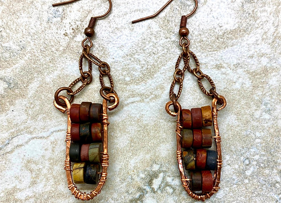 Wire Wrapped Picasso Jasper Earrings
