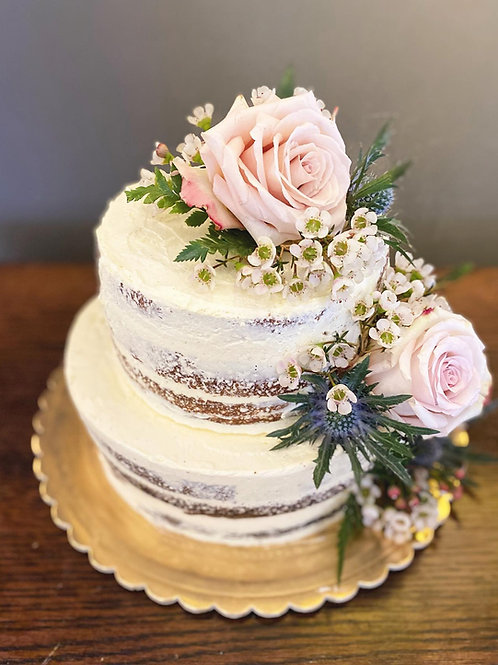 Two Tier Naked Floral Cake