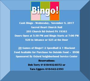 7PM Wed, Nov 8 at Sacred Heart Church Hall