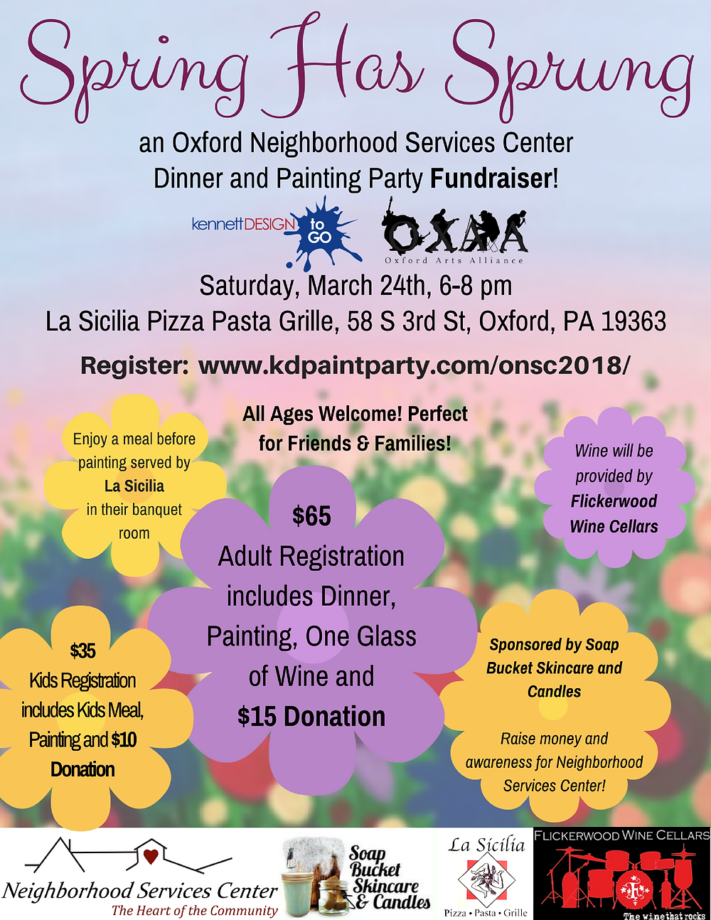 Dinner and Painting Party Fundraiserat La Sicilia with Soap Bucket and Flickerwood