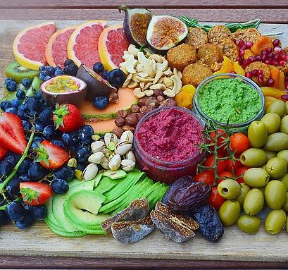 Luxury Grazing Platter - Stylish Eats - Vegan, avocado, passionfruit, grape, fig, olive, falafel, kiwi, date - copyrighted - property of Stylish EATS