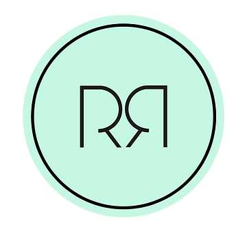 Rebecca Rees logo green circle with black edging and two capitalised letter Rs facing each other