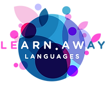 Learn Away Languages logo, an abstract globe in blues, pinks and purples