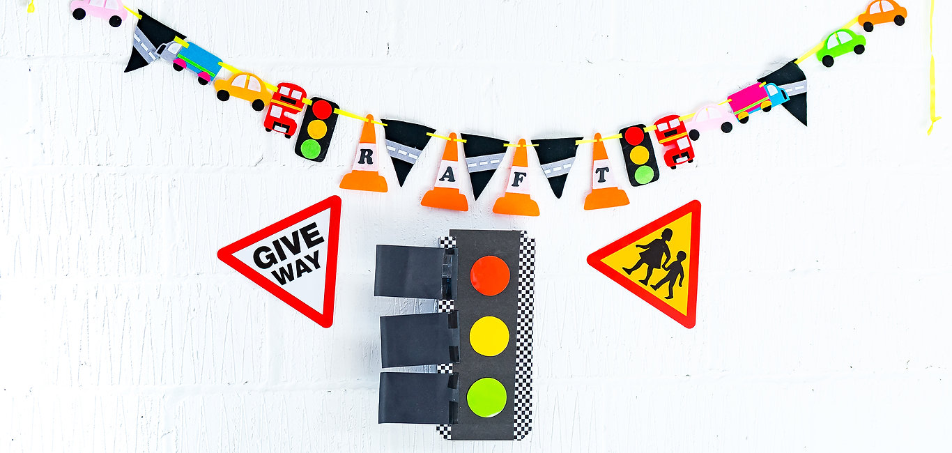 Colourful bunting and road signs for road awareness for tots to teens