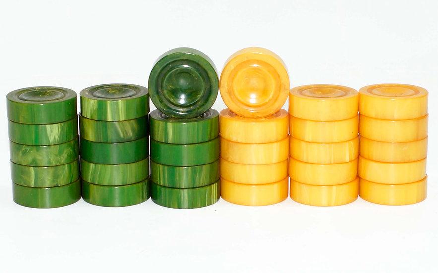 "Bakelite Fingerbowl 1.5"" Forest Green and Translucent Cream"