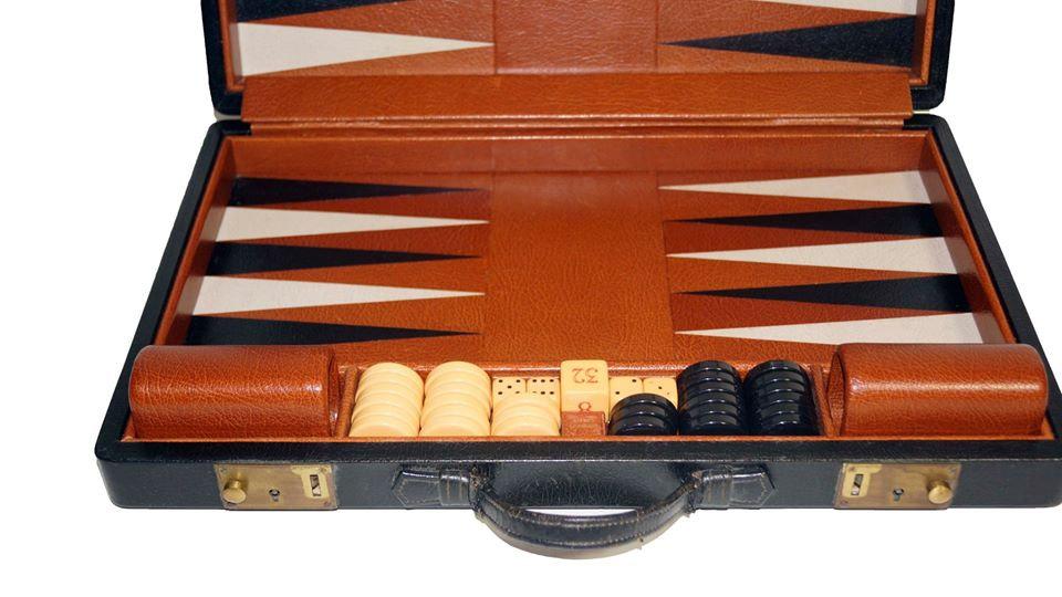 "Asprey Of London All Leather Backgammon board 1.25"" checkers Travel Size"