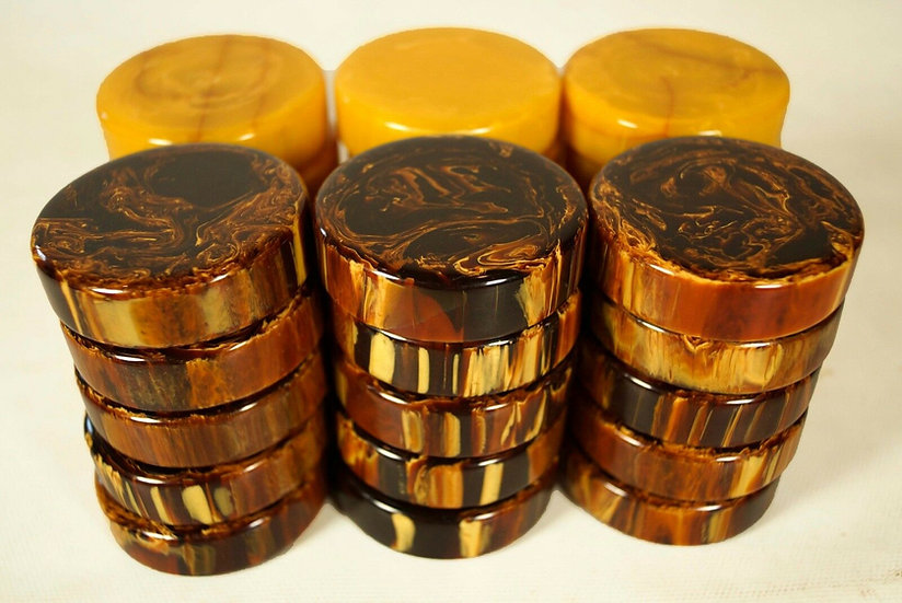 "Bakelite 2"" Brown and gold checkers"
