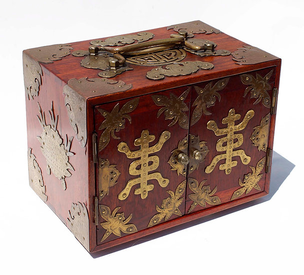 Heavily Decorated Brass Double Door mahjong case with thick bone Tiles