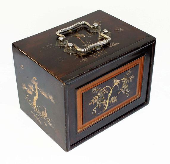 Rare Deep Capacino Lacquer Mahjong box with 152 hand carved tiles