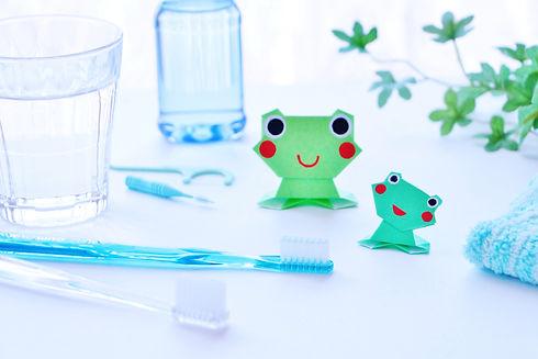 カエルと歯ブラシ