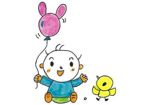 風船を持った子供の絵