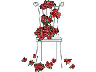 バラと椅子のイラスト