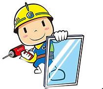 窓ガラス修理のイラスト